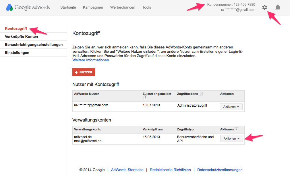 Screenshot AdWords Kontozugriff (neu)