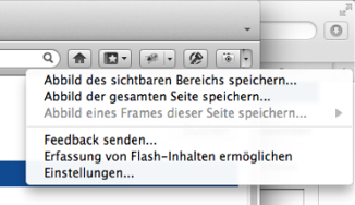 Screenshot Firefox mit Pearl Crescent Page Saver Basic