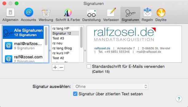 Signaturen in den Einstellungen von Mail