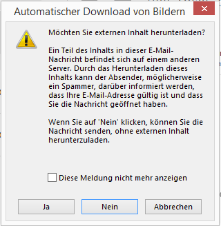 Warnmeldung beim Antworten in Outlook