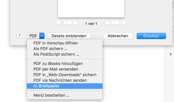 Screenshot Drucken PDF