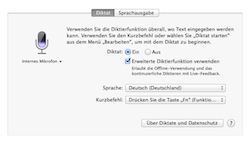 Screenshot Systemeinstellungen Diktat