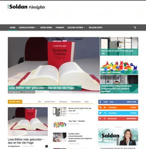 Screenshot der Startseite von Soldan Insights am 11.02.16