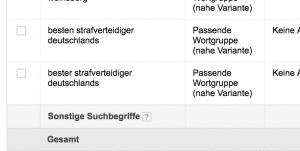 Bester Strafverteidiger Deutschlands (Screenshot Suchbegriffe Google AdWords)