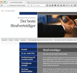 "Website zum Thema ""Bester Strafverteidiger"" (Screenshot)"