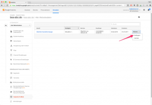 Screenshot Analytics E-Mail-Abo verlängern