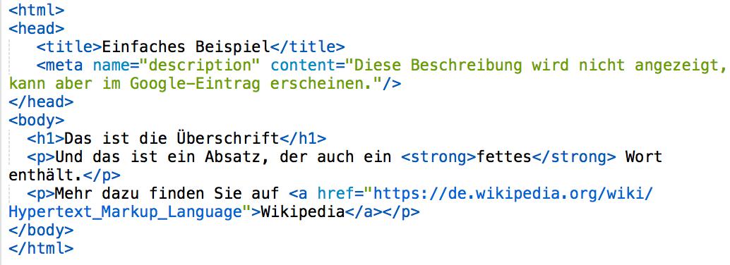 Beispiel für HTML