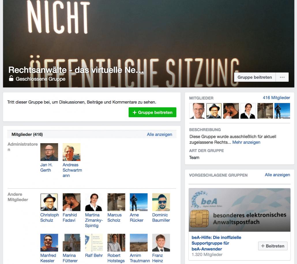 Öffentliche Ansichtder geschlossenen Facebebook-Gruppe (Screenshot)