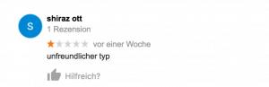 Schlechte Google-Bewertung (1 Stern)
