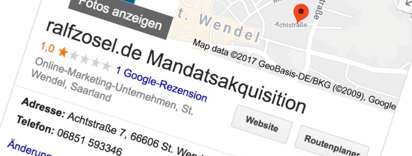 Screenshot Schlechte Google-Bewertung löschen